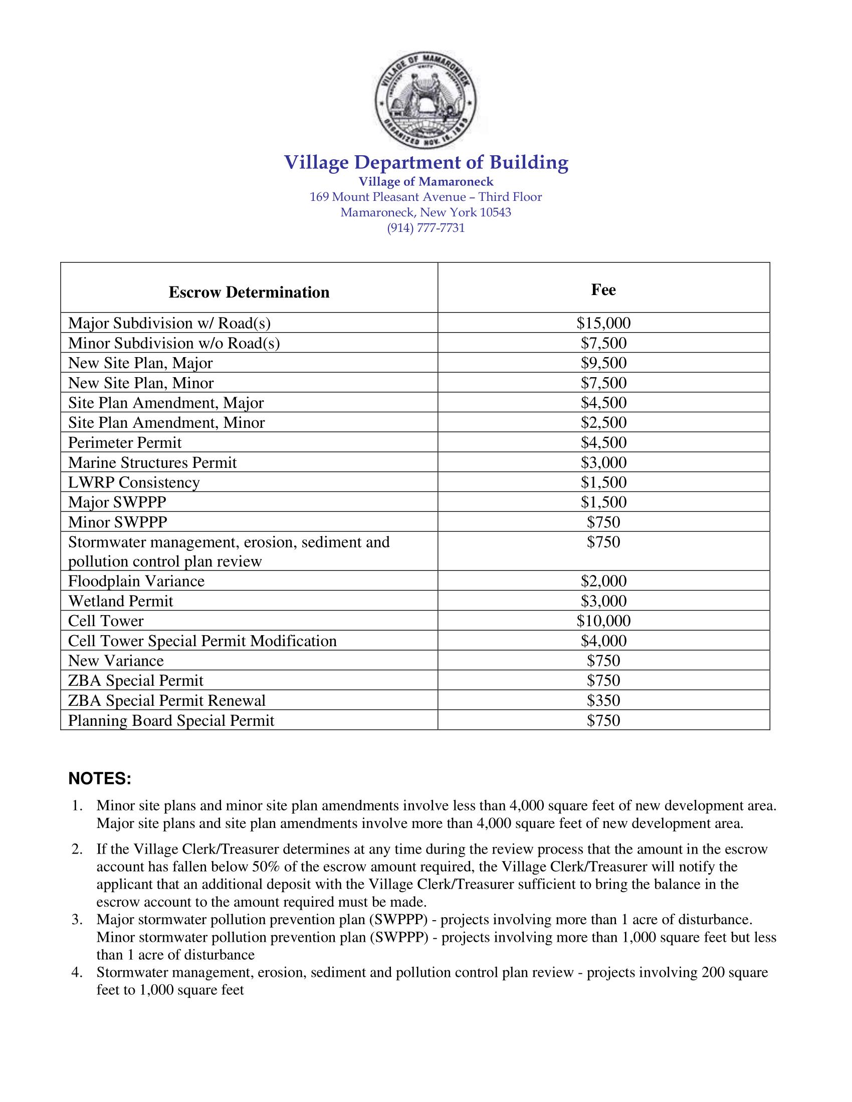 Escrow Fee Schedule